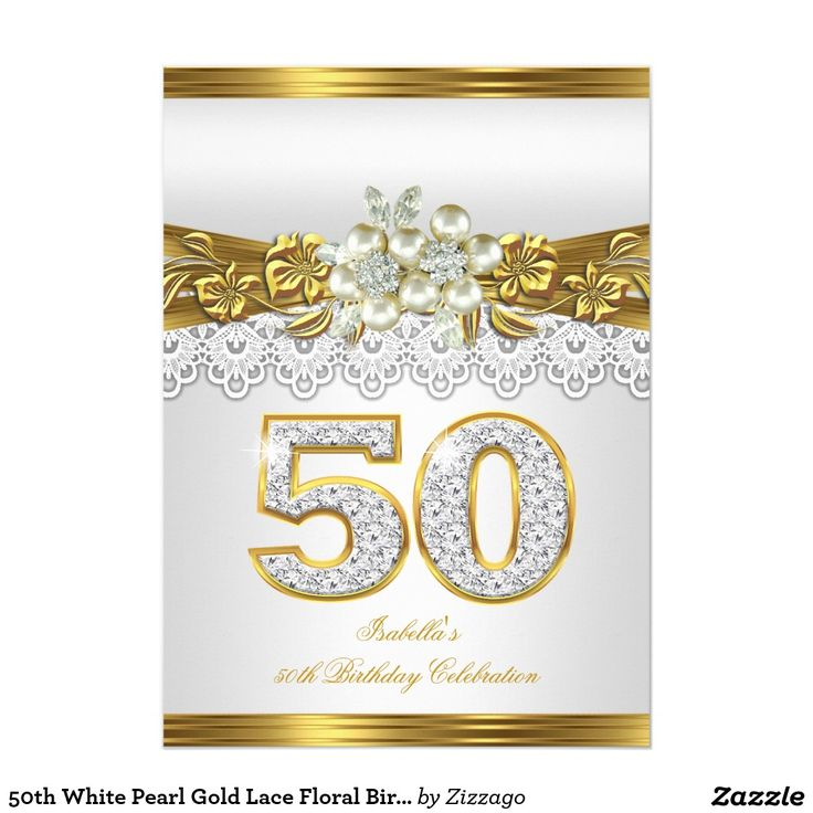 50th White Pearl Gold Lace Floral Birthday Party Card - 50th Birthday Party…