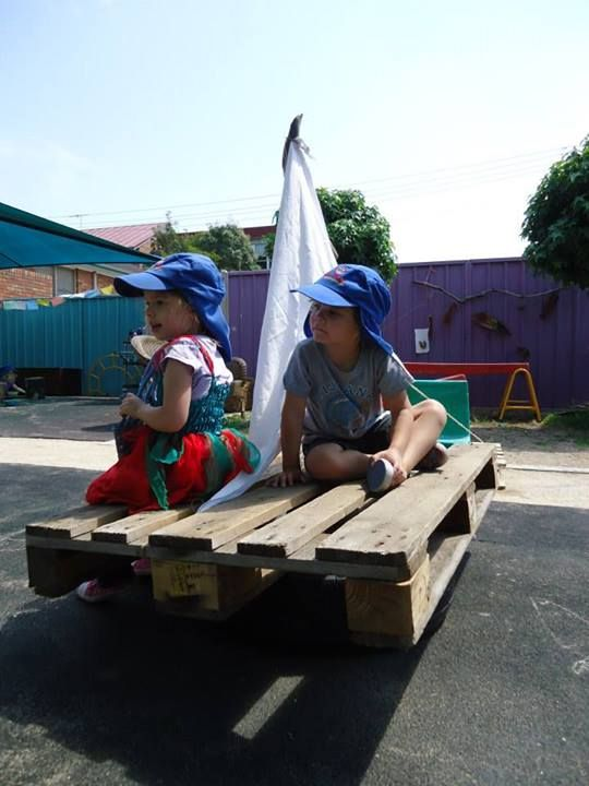 "Sailboat made with a tyre & pallet - at Elder Street Early Childhood Centre ("",)"