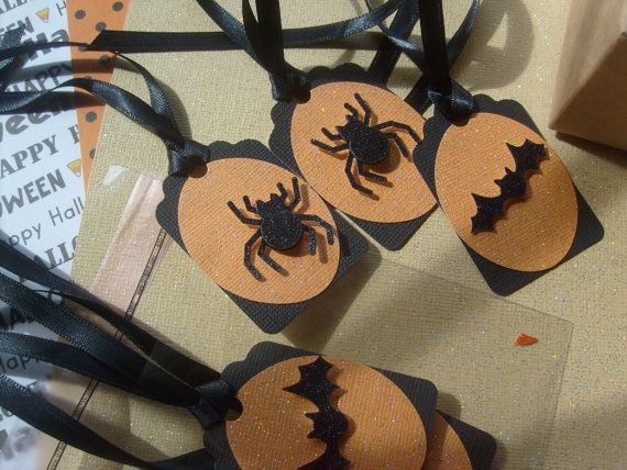 Halloween Party Gift Tags... Spooky Spiders and Bats, 3 Dimensional  Fun party Gift Tags....  Qty. 12 on Etsy, $6.50