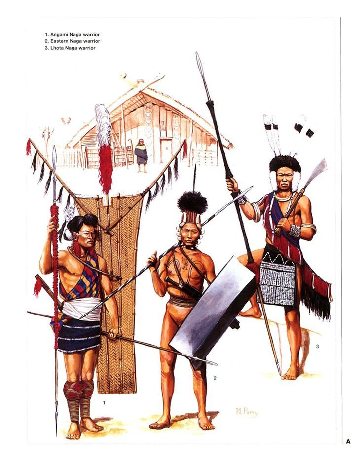 1:Angami Naga warrior.2:Eastern Naga warrior.3:Lhota Naga warrior.