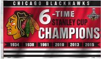 Chicago Blackhawks Six Time Stanley Cup Champions Flag 3' x 5' NHL Banner