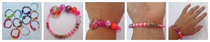 Pulsera Mixture rose  Materiales: Cuentas acrílicas, cloissoné y en vidrio, perlas, murrinas, murano chino, mostacillas  Valor: $8.000
