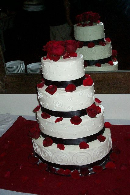 Red Rose oval shape Wedding Cake by christiescakery, via Flickr