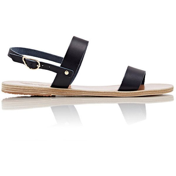 Ancient Greek Sandals Women's Clio Sandals ($89) ❤ liked on Polyvore featuring shoes, sandals, navy, leather shoes, navy blue flat shoes, flat sandals, navy flat shoes and navy blue flat sandals