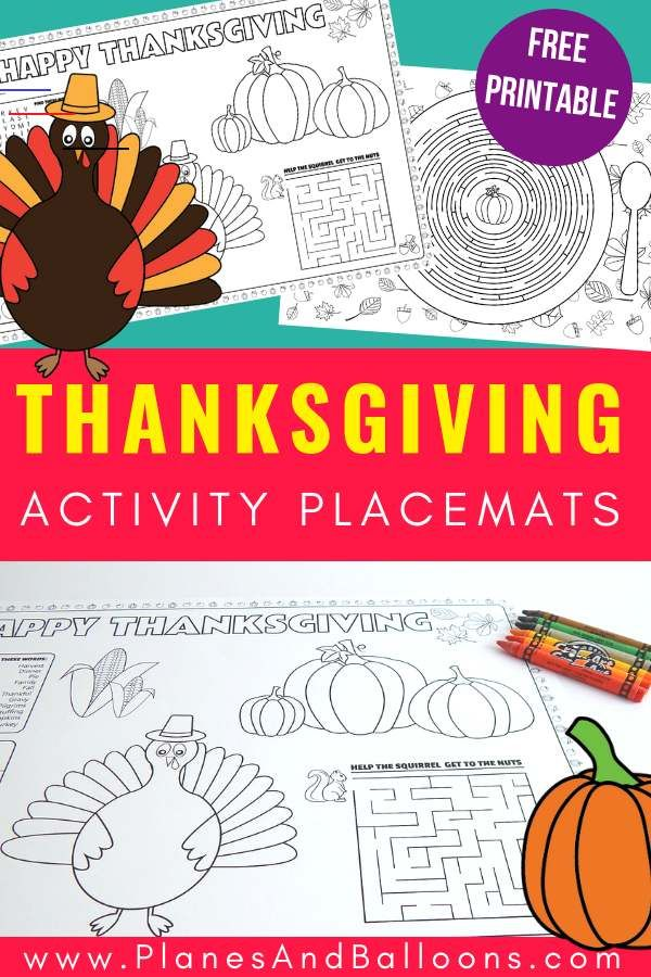 Printable Thanksgiving Placemats For Kids To Solve And Color Thanksgivingplacematspreschool Keep Your Kids Entertained And Active At This Year S Thanks Muts