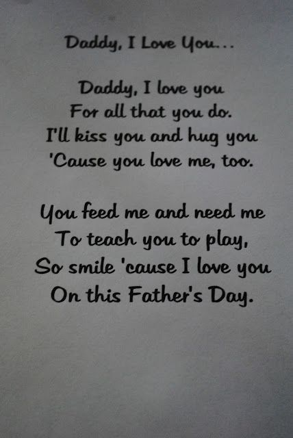 Father's Day poem, I'd change it and make it for mommy instead.