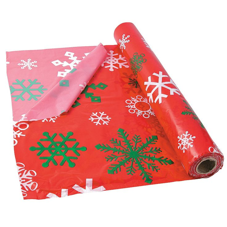 Red+Snowflake+Plastic+Tablecloth+Roll+-+OrientalTrading.com