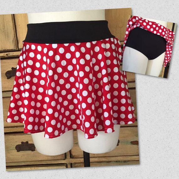 Swimsuit swim skirt with bikini bottom minnie mickey mouse