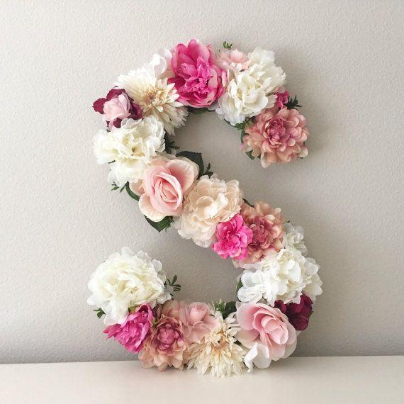 Floral Letter 15″ 19″ 24″, Large Flower Letter, Floral Initial, Custom Floral Letter Nursery, Shabby Chic Decor, Floral Monogram