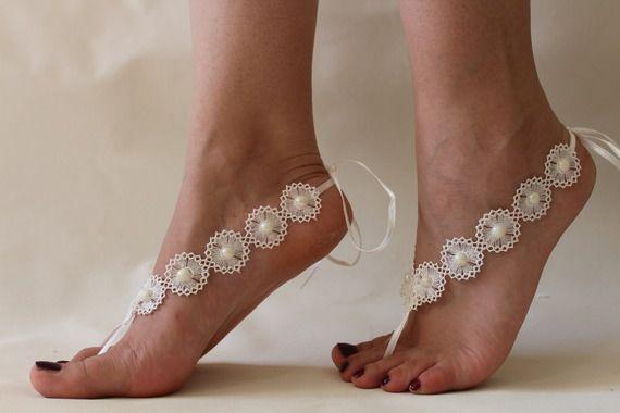 düğün, gelinlik aksesuarları, plaj düğün, plaj düğün fildişi inci yalınayak sandalet