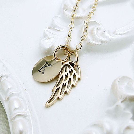 Personalized Gold Wing Necklace 14k gold filled by RoseAndRaven, $29.00