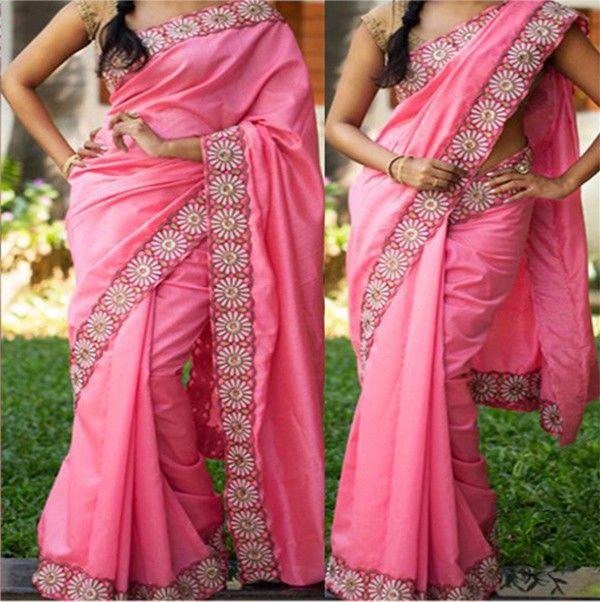 Cotton+Border+Work+Pink+Plain+Saree+-+111 at Rs 1399