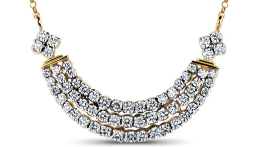 Three diamond-studded strands are held together by four-stone diamond clusters at either end. A simple yet charming tanmaniya.