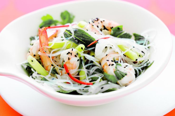 Quickly pan-fry prawns, then use them to create a healthy Asian noodle salad that's ready in minutes.