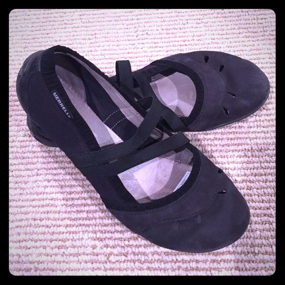"""Merrell slip on shoes Black colored slip on """"ballet type"""" casual shoe. Merrell describes these shoes as walking """"barefoot."""" They are a size 7.5 or European 38, but I think they fit more like a 7. They have only been worn a few times! Merrell Shoes Flats & Loafers"""