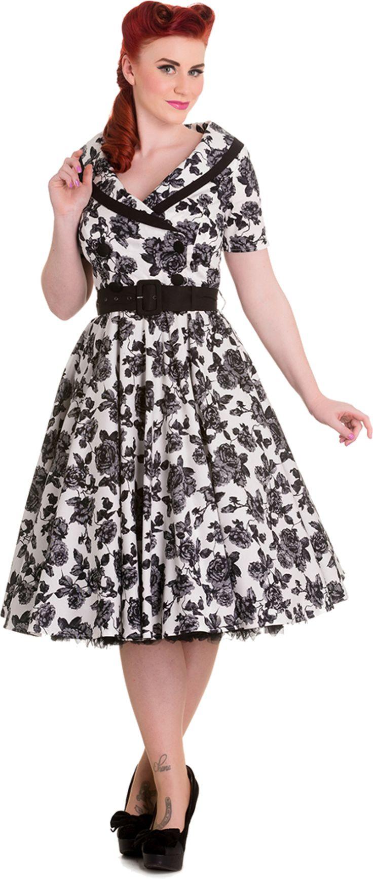 Hell Bunny HONOR Vintage ROSEN V-Neck Kurzarm SWING DRESS Kleid