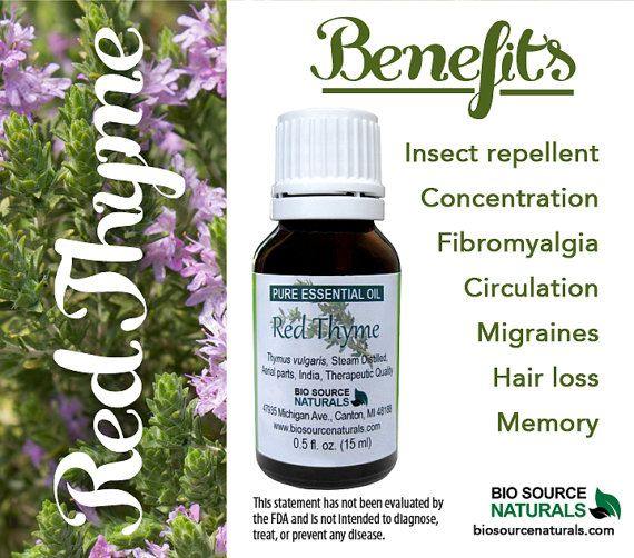 Red Thyme Essential Oil helps soothe symptoms of ear infections, hair loss, fibromyalgia, concentration and migraines. #aroamtherapy