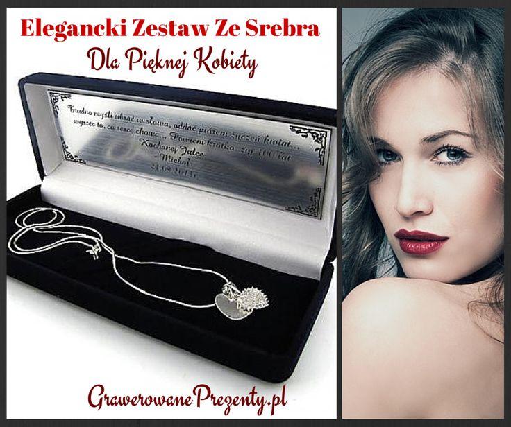 Elegancki zestaw ze srebra, w skład którego wchodzą dwie srebrne zawieszki w kształcie serc, w tym jedna wysadzana kryształkami, oraz srebrny łańcuszek, to znakomity pomysł na prezent dla wyjątkowej kobiety. http://bit.ly/1pQJMTe