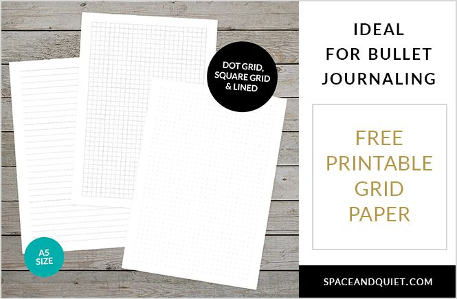 Free printable dot grid paper for bullet journaling - download, print at home, A5 grid paper - dot, square and lined, ideal for ring-bound planners.