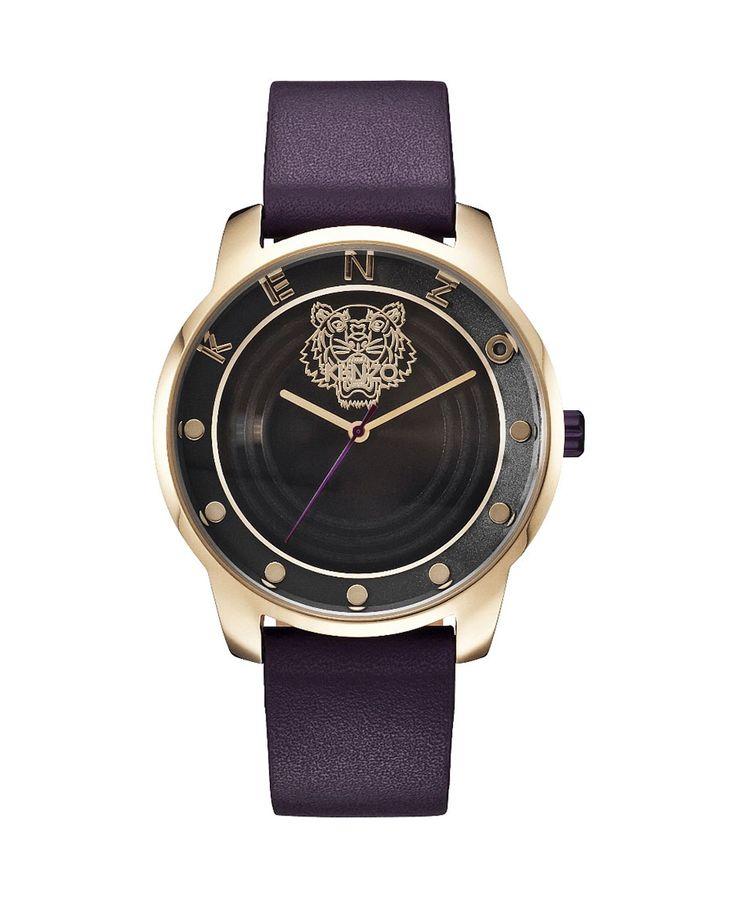 Kenzo orologio - cinturino in pelle con paillettes - quadrante logato - movimento a tre lancette - indici con colore in  - Orologio uomo Nero