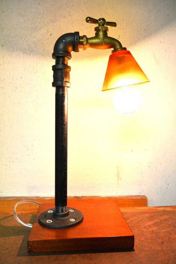 Industrial Faucet Plumbing Pipe Table Lamp by DownthePipeline