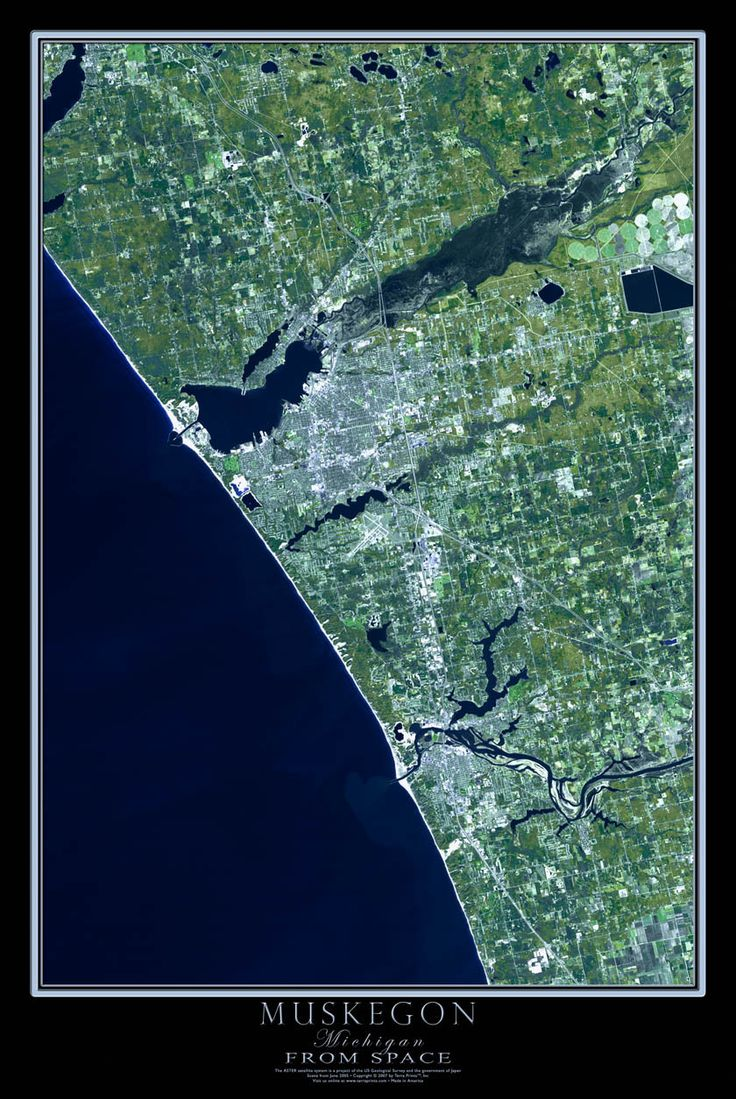 Muskegon Michigan Satellite Poster Map 9 best