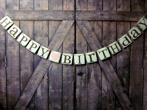 Birthday Party Decorations HAPPY BIRTHDAY Banner Personalized Engagement Barn Wedding Ranch Country