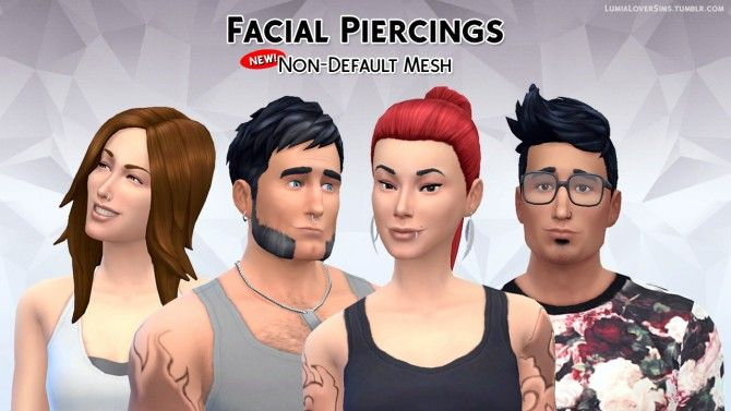 Facial Piercings: Nose, Septum and Mouth at LumiaLover Sims via Sims 4 Updates