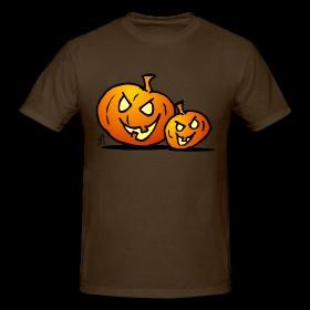 Jack-O'-Lantern, two Halloween pumpkins T-Shirts. #Spreadshirt#Cardvibes #Tekenaartje #Halloween