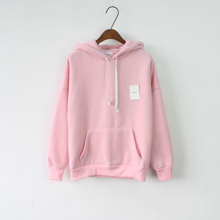 Sweatshirt Long Sleeve Pink Casual Harajuku Pocket Design Winter Hoodie