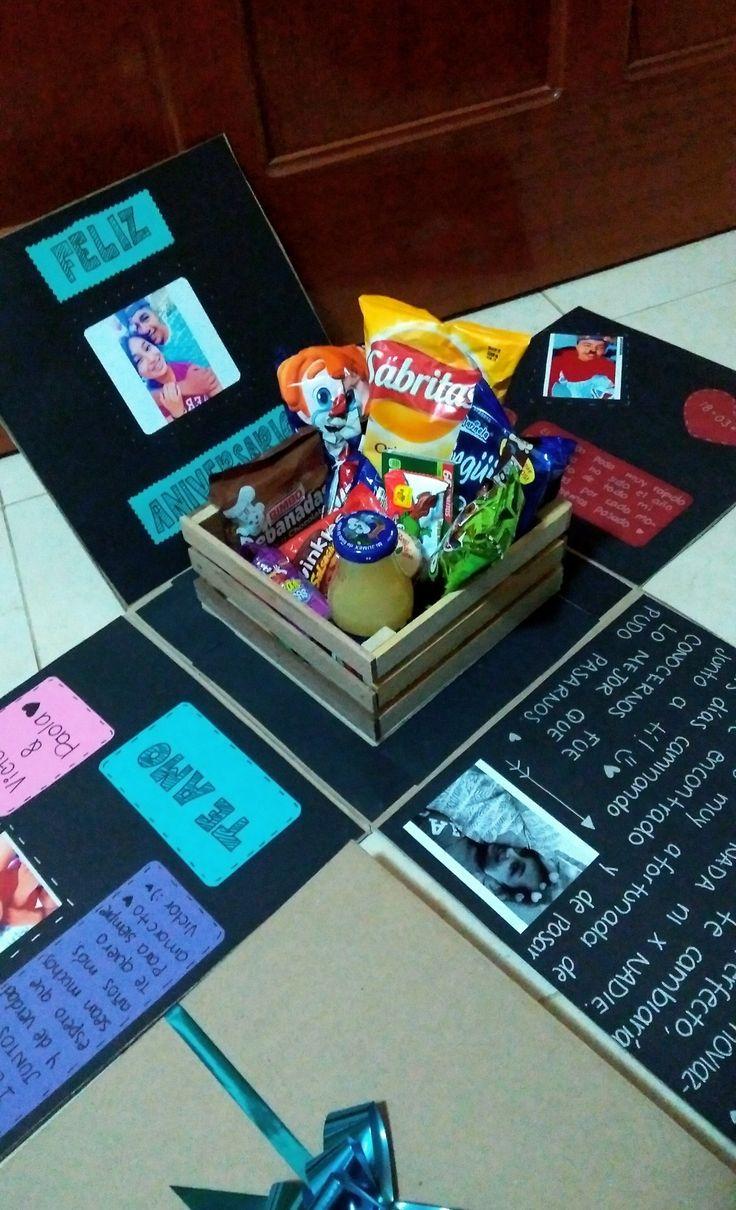 Caja sorpresa de feliz aniversario con dulces detalles for Sorpresas para aniversario