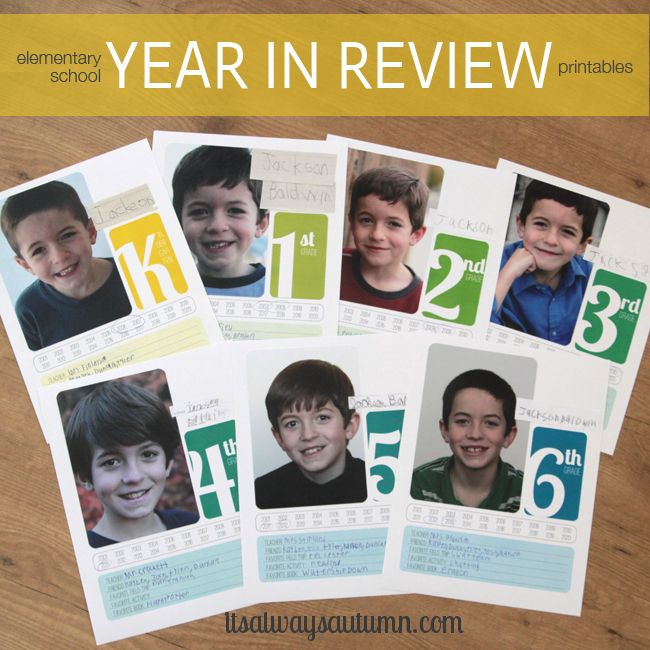 elementary school year in review printable divider pages - It's Always Autumn