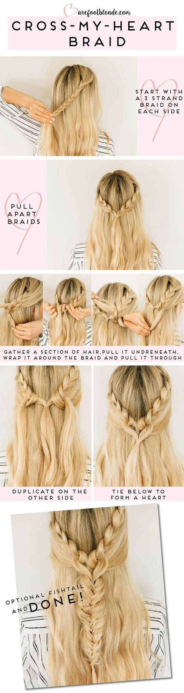 Best Hair Braiding Tutorials - Cross My Heart Braid - Easy Step by Step Tutorials for Braids - How To Braid Fishtail, French Braids, Flower Crown, Side Braids, Cornrows, Updos - Cool Braided Hairstyles for Girls, Teens and Women - School, Day and Evening, Boho, Casual and Formal Looks diyprojectsfortee...