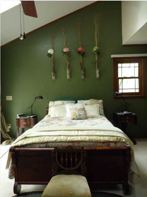 10 Wonderful Spring-Inspired Bedroom Decorating Ideas:captivating-spring-inspired-bedrooms-dark-green-wall-white-floor