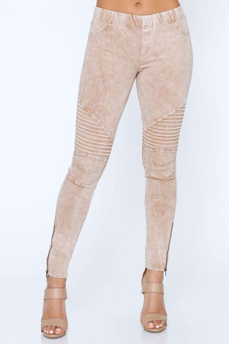 Shop Fashion Therapy. Nude biker leggings, Khaki biker leggings