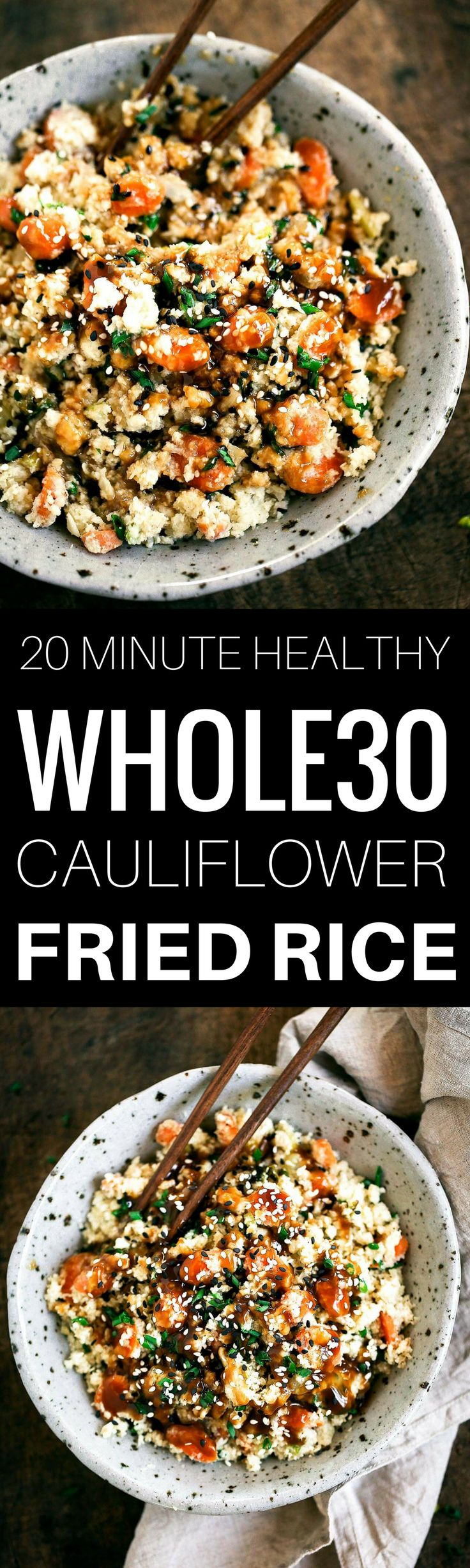 """Easy whole30 and paleo cauliflower fried rice recipe. Ready in 20 minutes. Make ahead and freeze! A healthy and fun family dinner. Topped with a homemade date sweetened gooey silky smooth """"soy sauce"""", green onions, and sesame seeds. whole30 meal plan. Easy whole30 dinner recipes. Easy whole30 dinner recipes. Whole30 recipes. Whole30 lunch. Whole30 meal planning. Whole30 meal prep. Healthy paleo meals. Healthy Whole30 recipes. Easy Whole30 recipes. Easy whole30 dinner recipes. Best..."""