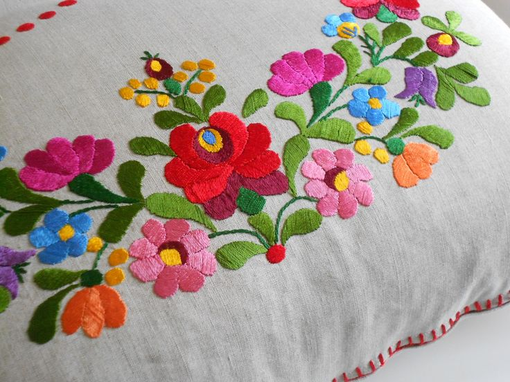 hand embroidered cushion