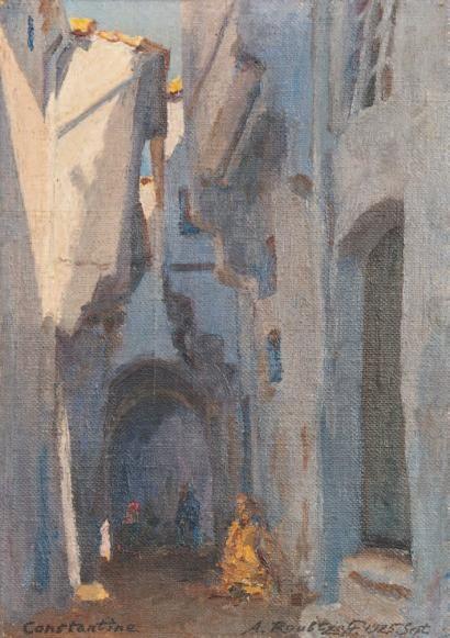 Alexandre ROUBTZOFF (1884-1949)  Rue animée à Constantine Huile sur toile marouflée sur carton, signée en bas à droite, datée « 1925 sept. »...