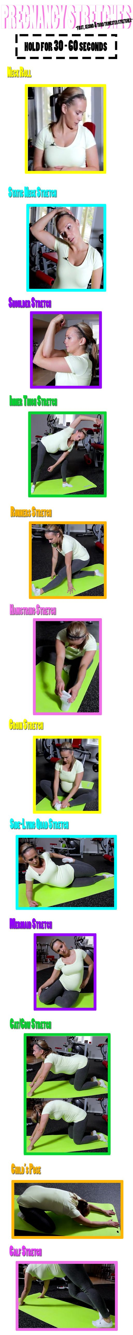 Stretching in very important during Pregnancy. Do these stretches to help relieve pain and for a better delivery:   http://www.flaviliciousfitness.com/blog/2013/04/24/pregnancy-stretches-first-second-third-trimester-stretches/  【REPIN 】