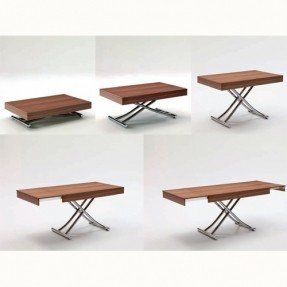 The Passo is a transforming coffee table with glass/wood top