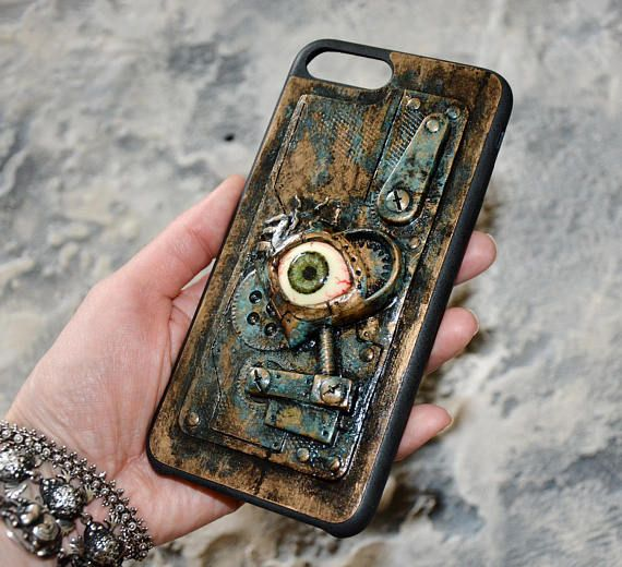 Steampunk phone case - iPhone 7 case iPhone 6 case - Steampunk - Zombie Horror phone case - Eye - Mutations - Steampunk gift - 3D phone case by FamilySkinersStyle to Etsy