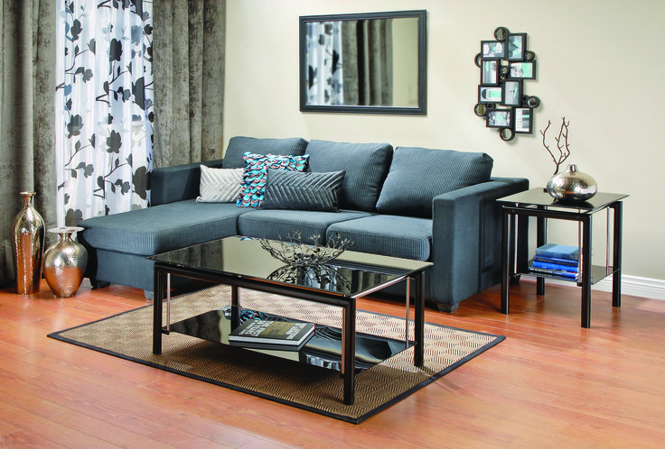 Grey striped modern and stylish left or right hand chaise sofa.