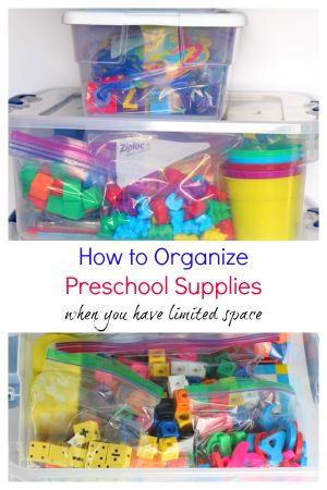 Do you struggle with figuring out how to organize preschool supplies? I know I do! This year I am determined to get things organized and easy to access.