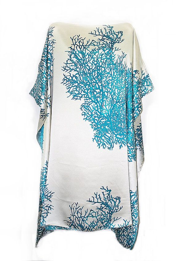 Aqua Blue Coral Pure silk Kaftan by Molly Kaftans by MollyKaftans, $189.00