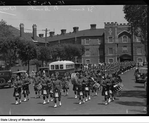 16th Battalion outside Pensioner Barracks, march down St George's Tce, Perth, December 1937