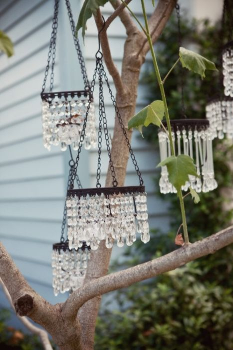 """rainbow catchers"" (Pollyanna!) -- vintage crystals re-purposed as wind chimes"