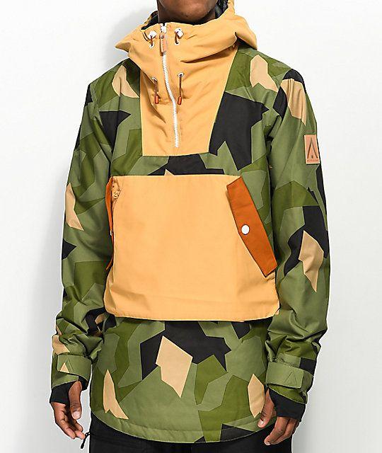 CLWR Anorak Olive Camo 10K Snowboard Jacket