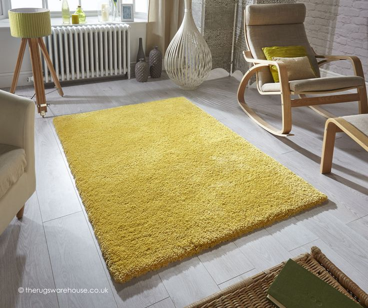 Softness Mustard Rug A Plain Shaggy Rug Made Using A