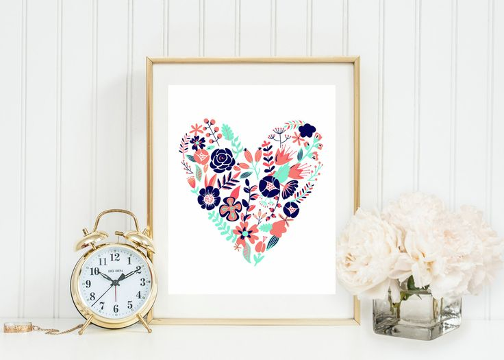 Coral Navy And Gold Floral Heart Wall Art Coral Mint