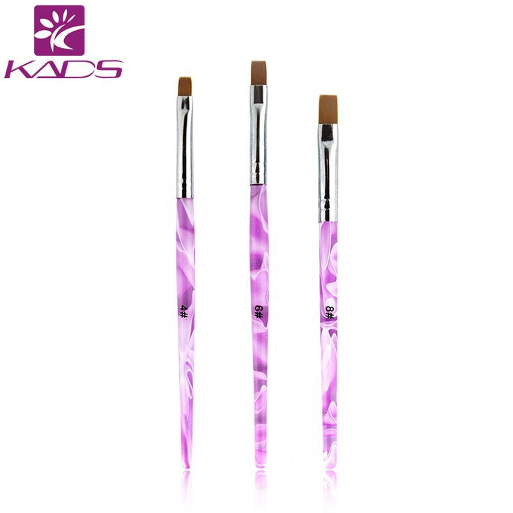 2016 Vendita Calda di Formato 4 #. 6 #. 8 #1 pz/lotto Professionale Acrilico Gel UV Pennello Piatto testa Nail Art Design Pittura Disegno Brush Tools